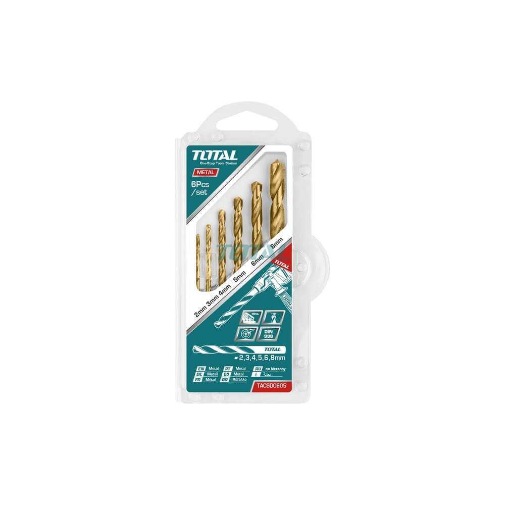 Set Brocas Metal HSS 6 Piezas Total Tools TACSD0605