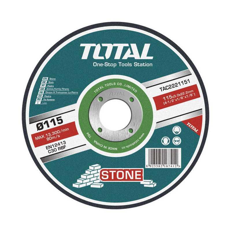 """Disco de Corte Piedra 4-1/2"""" (115x3x22.2mm) Total Tools TAC2221151"""