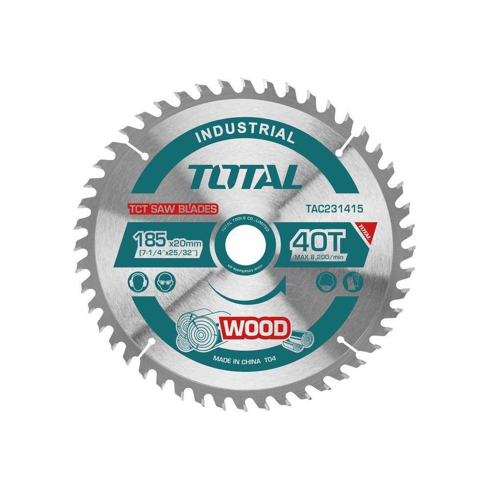 "Disco Sierra Madera 7-1/4"" x 40 Dientes Eje 20mm Total Tools TAC231415"