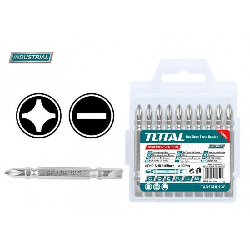 Puntas para Atornillar Phillips PH2 Doble 10 Pzs Total Tools TAC16HL133
