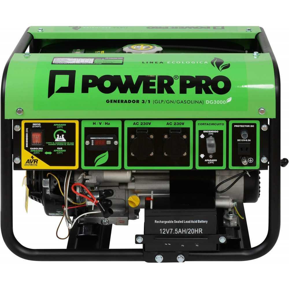Generador Eléctrico a gas 3 en 1 (GLP/GN/Gasolina) 2.8 kva DG3000 Power Pro 600000630