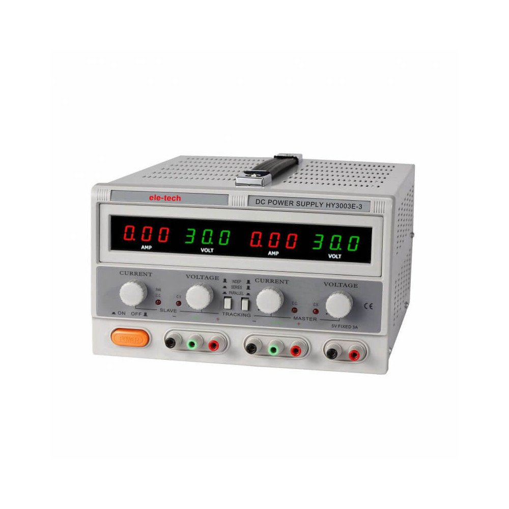 Fuente de Poder Digital Ele-Tech Doble Display Doble Led-0-30V/3A -5VDC/3A Poirot HY3003E-3