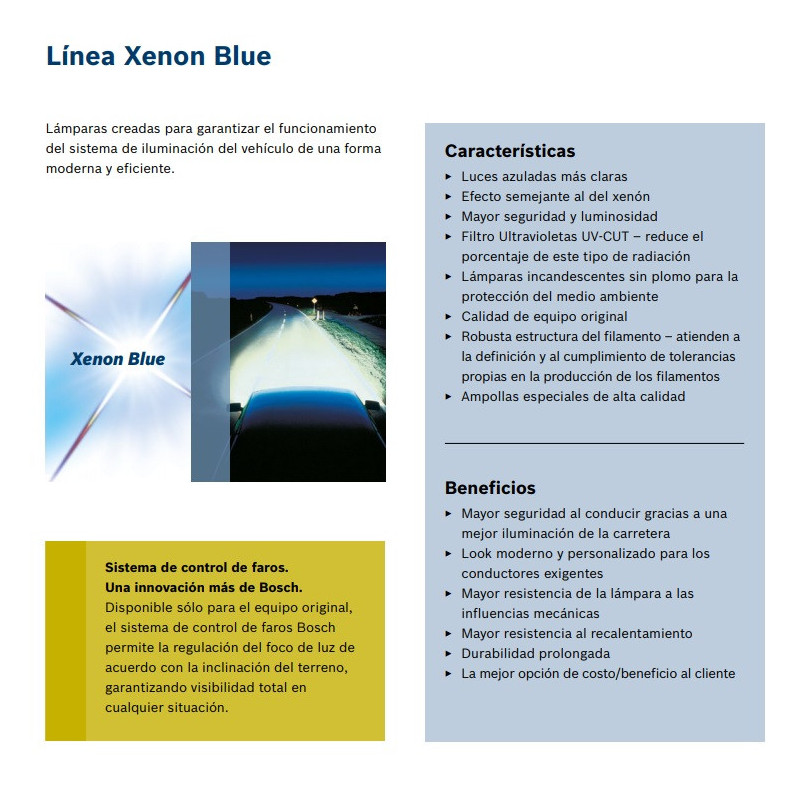Ampolleta para Automóvil Foco Mayor - Luces bajas/altas 12V 60/55W H4 Xenon Blue Bosch 110986BL0415