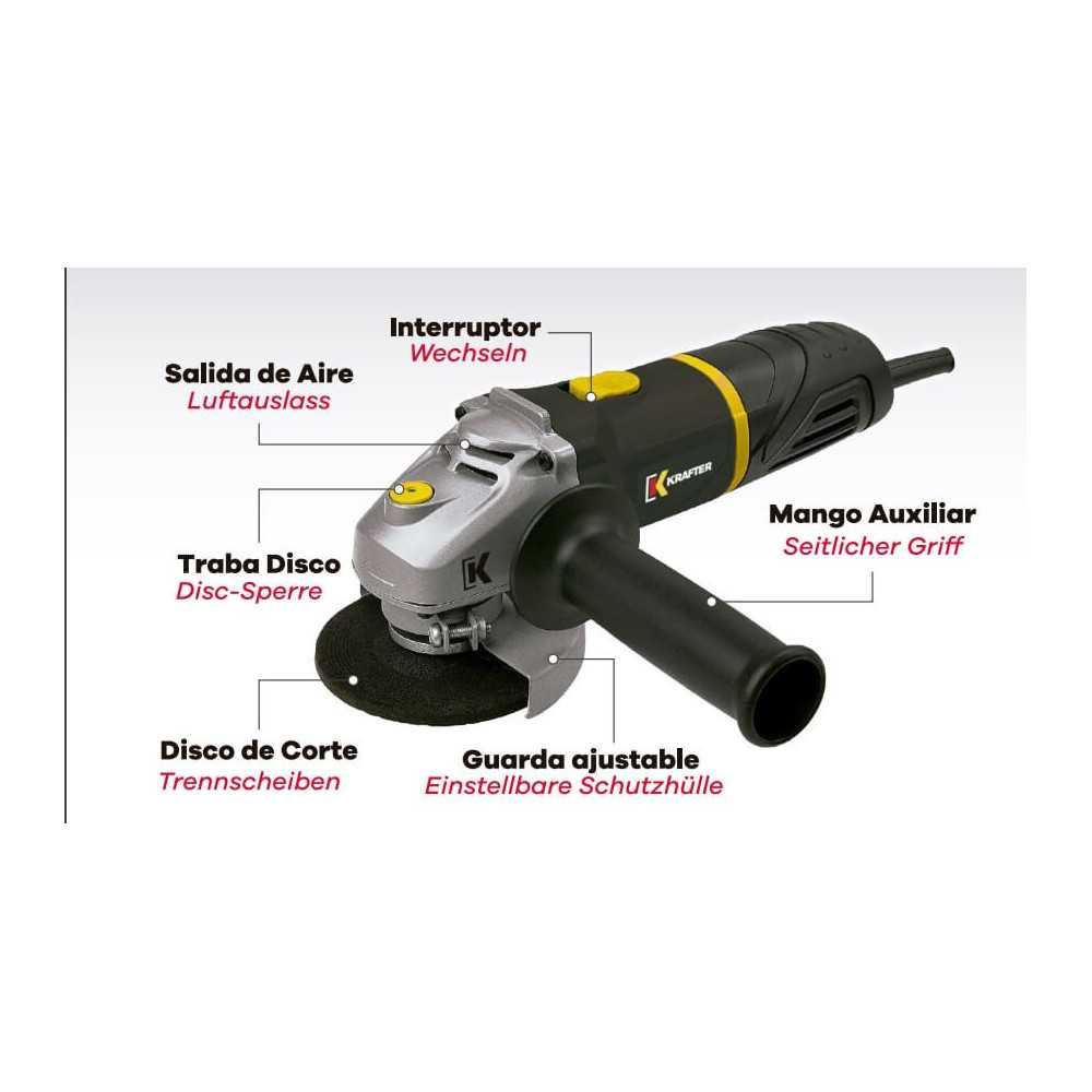"""Esmeril Angular 4 1/2"""" (115mm) 600W HDD452 Krafter 5112000000650"""