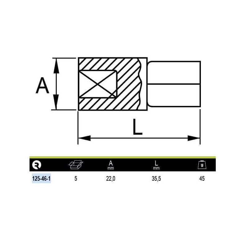 """AdaptadorReductor de 1/2"""" a 3/8"""" Irimo 125-46-1"""