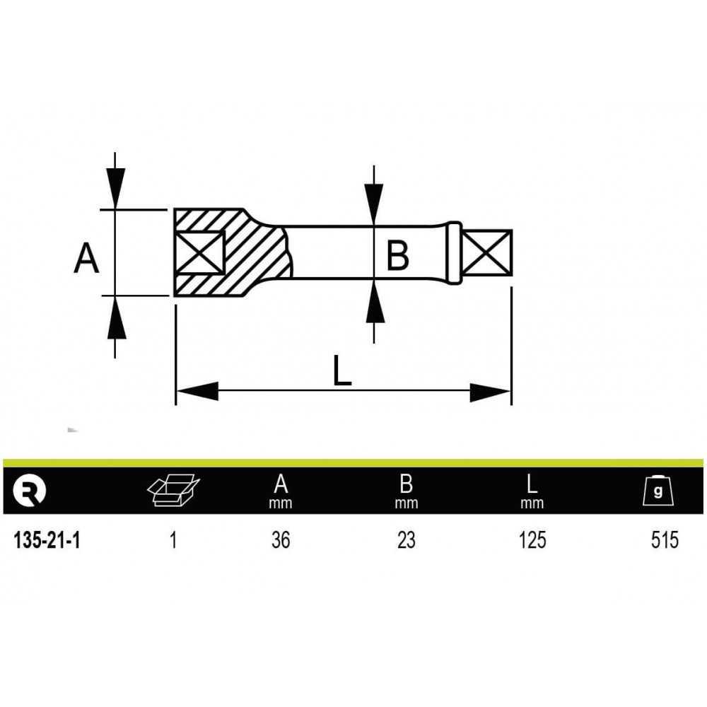 """Barra Extensión 3/4"""" 125mm Irimo 135-21-1"""