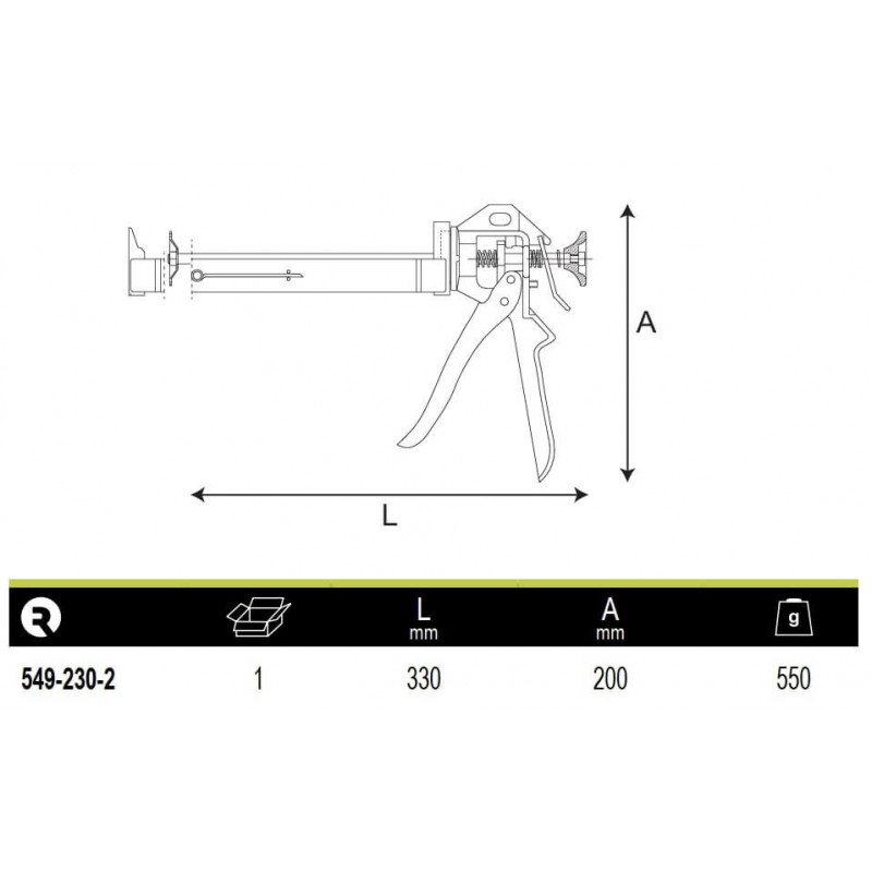 "Pistola Calafatear Para Cartuchos De 9"" Irimo 549-230-2"