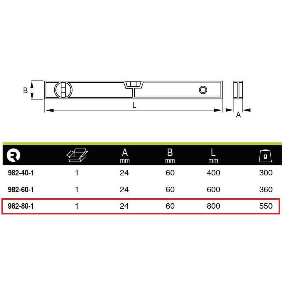 Nivel De Aluminio Profesional 80 Cm. Irimo 982-80-1