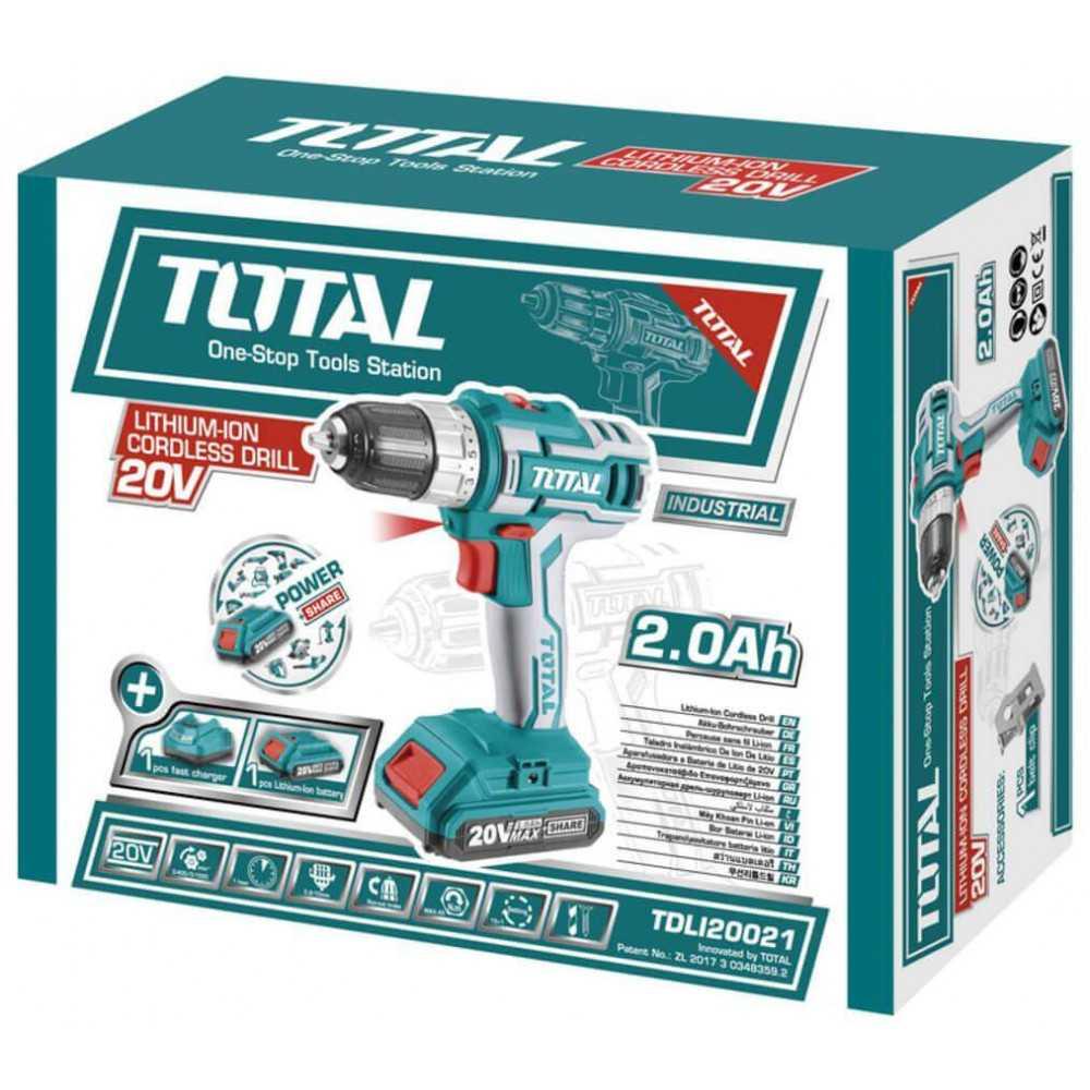 Taladro Atornillador Inalámbrico 10mm 45Nm 20V + Batería y Cargador Total Tools TDLI20021