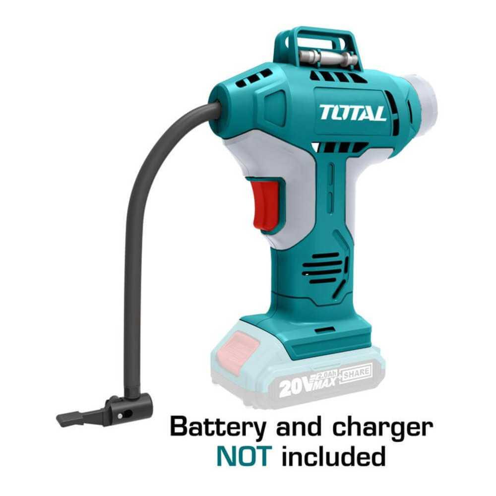 Compresor Inalambrico de Aire para Auto 20V 150PSI/10BAR Sin Batería ni Cargador Total Tools TACLI2001
