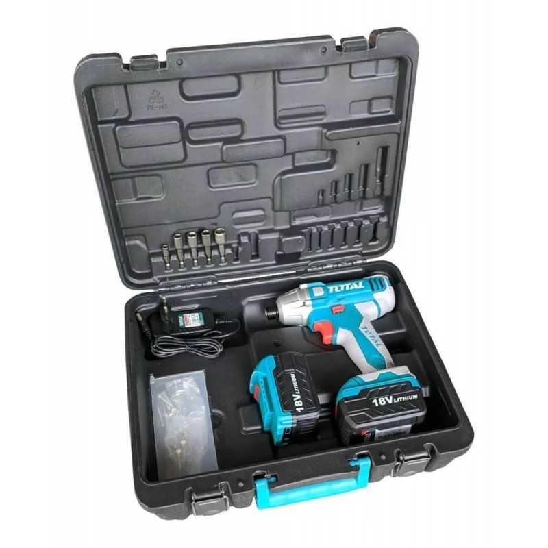 Atornillador de Impacto Inalámbrico 18V 120NM + 2 Baterias + Accesorios Total Tools TIDLI228181