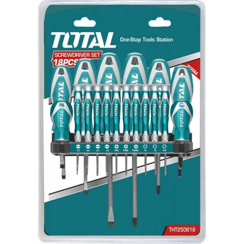 Juego de Destornilladores 18 Unidades Total Tools THT250618