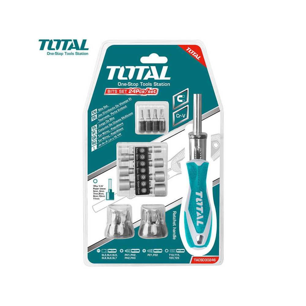 Juego de Destornilladores y dados 24 en 1 Pieza Total Tools TACSD30246