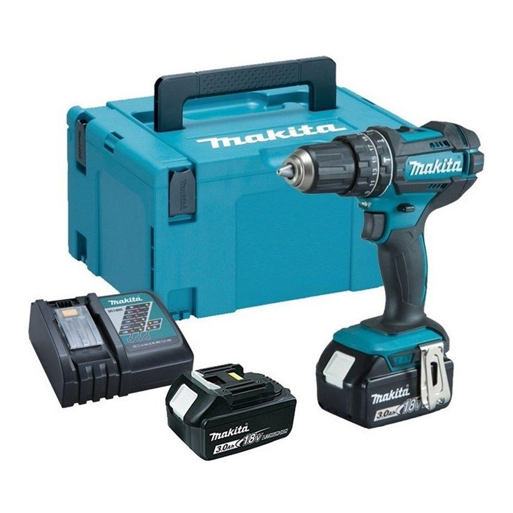 Taladro Atornillador Percutor Inalámbrico 13 mm - 2 vel variable (max Torque 62 Nm) 1,8 kg Makita DHP482RFJ
