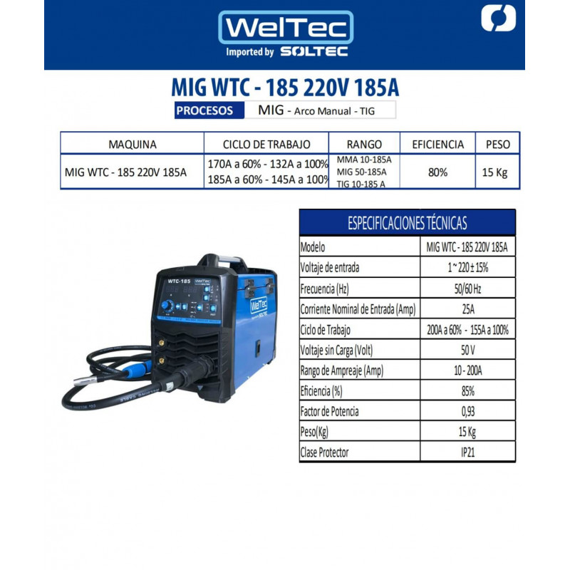 Soldadora Multiprocesos Inverter 185A MIG/MMA/TIG 220V WTC-185 WelTec MEI-220355