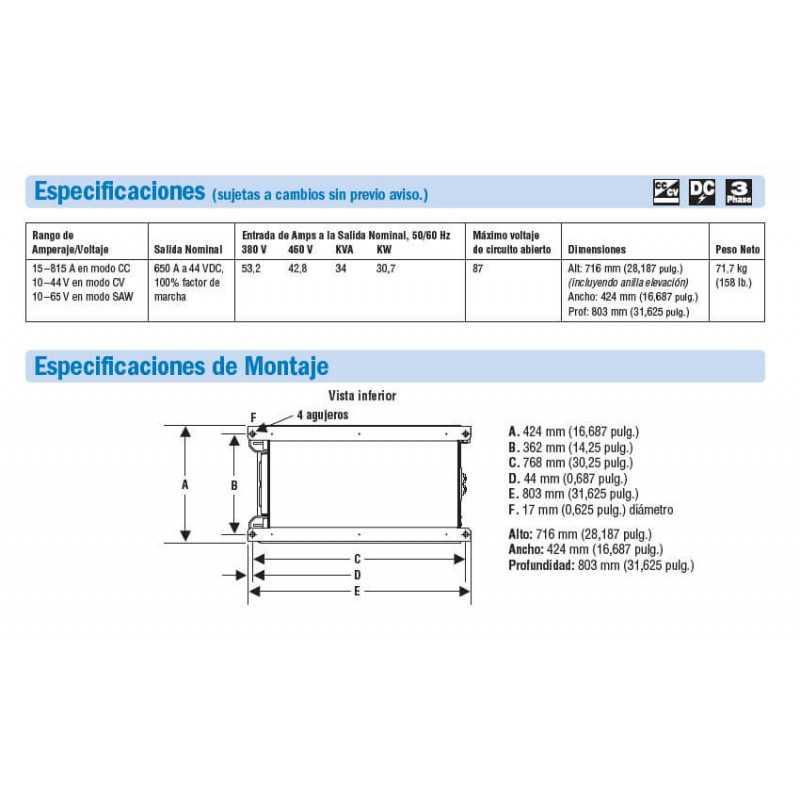 Soldadora Multiprocesos 650A Dimension 650 380/460V 907617 Miller MEP-111505001