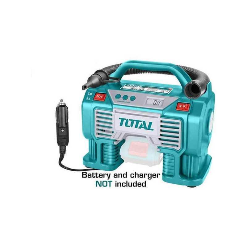 Compresor de Aire para Auto 20V 160PSI (11BAR) Sin bateria ni cargador Total Tools TACLI2002