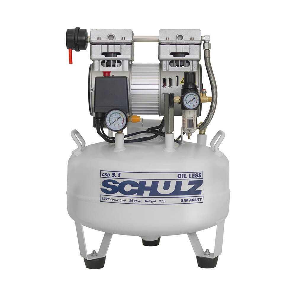 Compresor de aire CSD-5.1/25L 1 HP 220V Sin Aceite Schulz 9311321-0