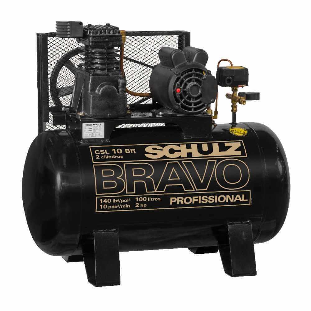 Compresor de aire CSL-10BR/100L 2HP 220V Monofásico Bravo Schulz 9318051-0