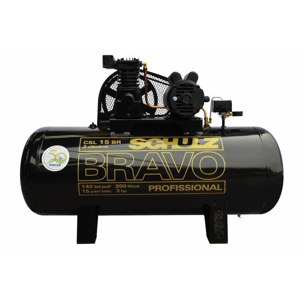 Compresor de aire CSL-15BR/200L 3HP 220V Monofásico Bravo Schulz 9323397-0