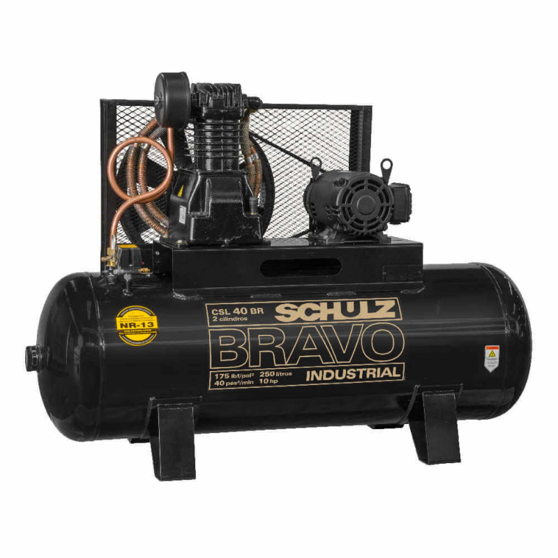 Compresor de aire CSL-40BR/350L 10 HP 380V/660V Trifásico Bravo Schulz 9318246-0