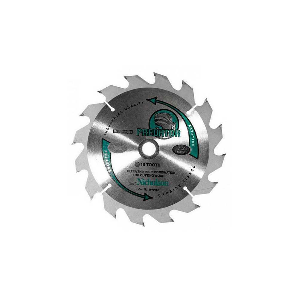 """Disco Sierra Circular Madera 7.1/4"""" 16 Dientes Nicholson 807016N"""