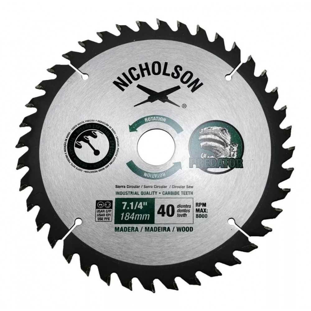 """Disco Sierra Circular Madera 7.1/4"""" 40 Dientes Nicholson 807040N"""