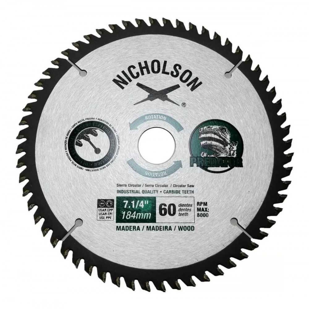 """Disco Sierra Circular Madera 7.1/4"""" 60 Dientes Nicholson 807060N"""