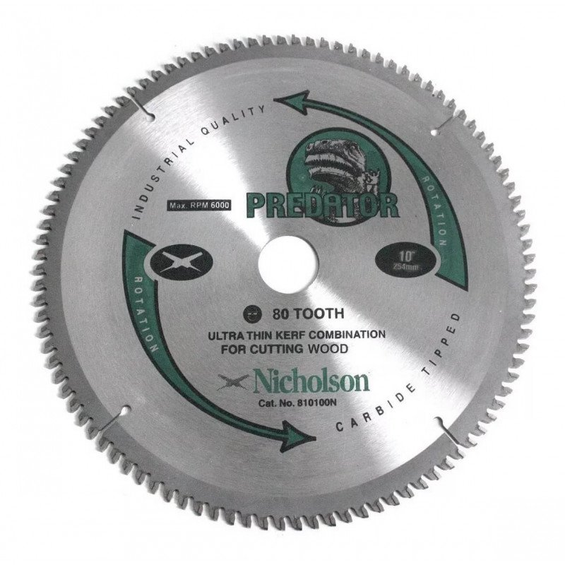 """Disco Sierra Circular Madera 10"""" 80 Dientes Nicholson 810080N"""