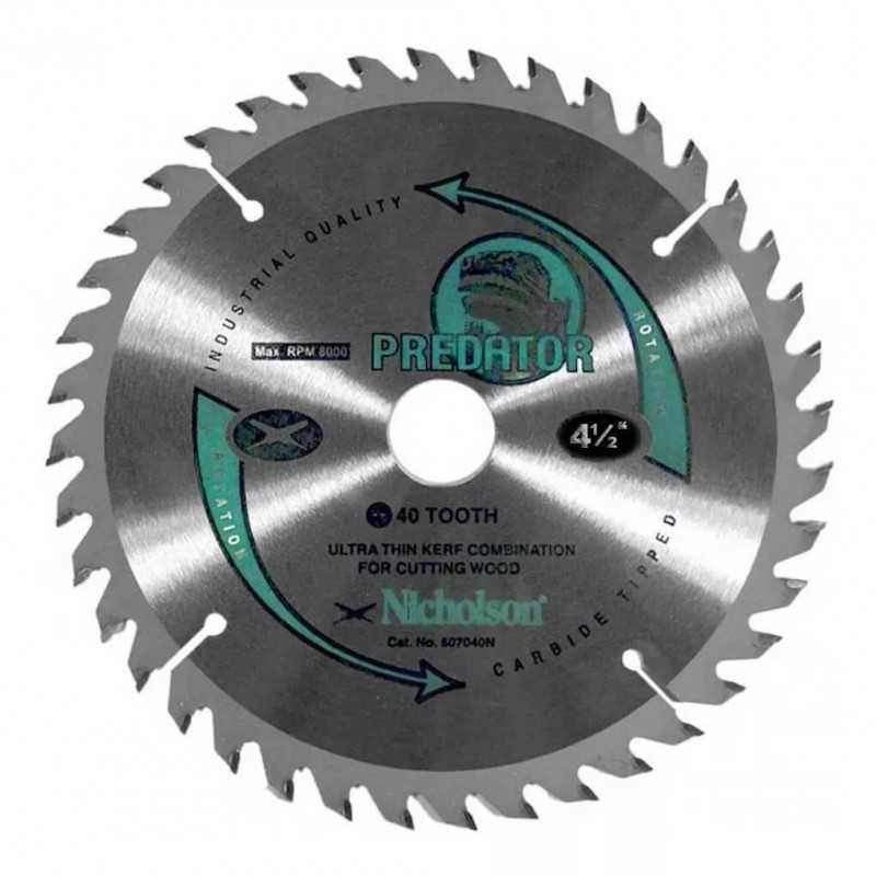 """Disco Sierra Circular Madera 4.1/2"""" 40 Dientes Nicholson 841240N"""