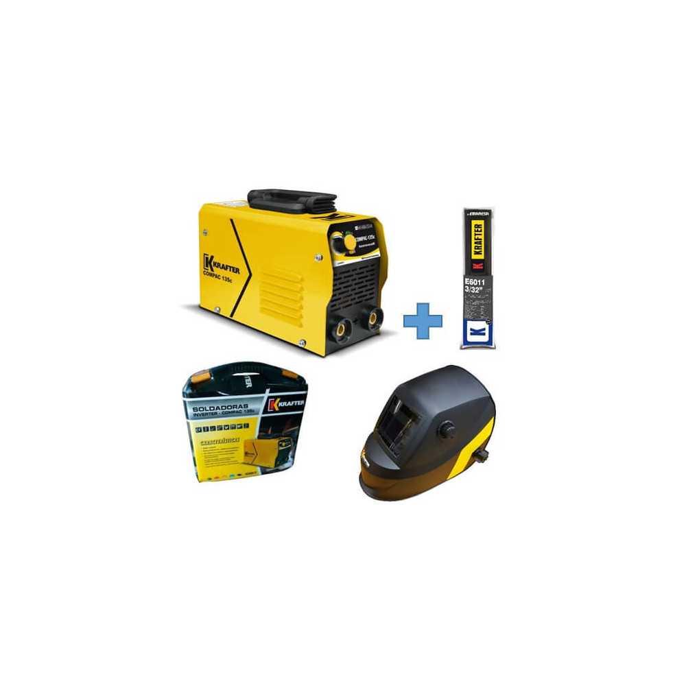 Soldadora Inverter Compac 135C 130Amp + Máscara Fotosensible + Electrodos E6011 Krafter 4459000555135