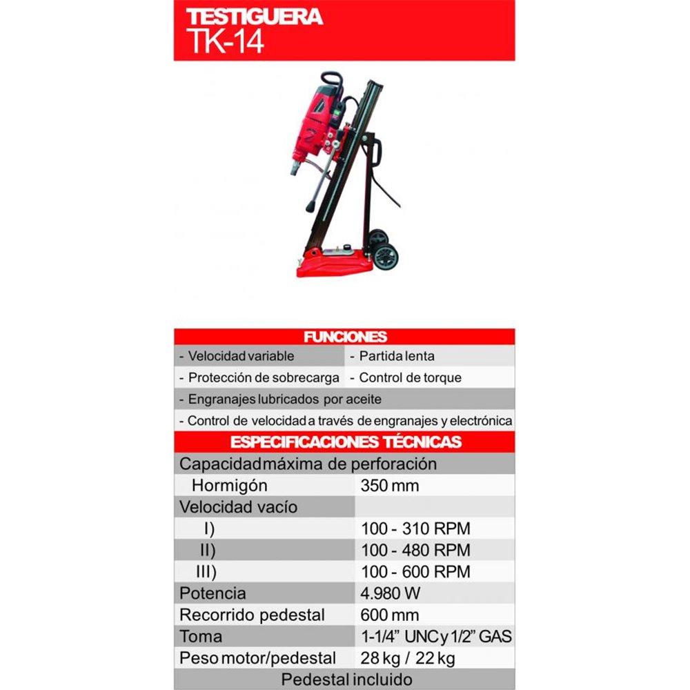 Testiguera Manual con Pedestal 5.280 W 600 RPM Kothman TK-14