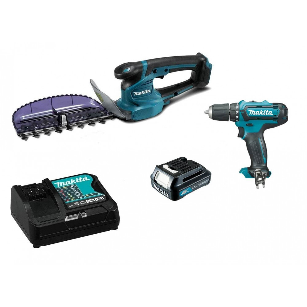 Kit Cortaseto Inalámbrico CTX 12V + 1 batería 1.5 Ah + cargador + Taladro Makita UH201DWY + HP331DZ