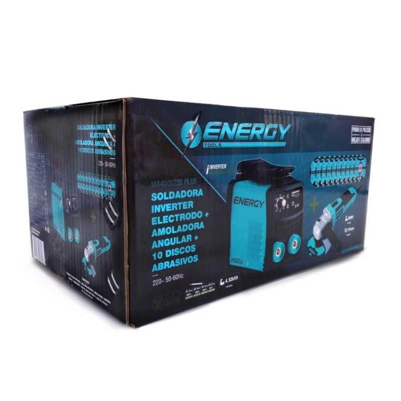 "Soldadora Inverter Arco Manual 140A + Esmeril Angular 4-1/2"" 650W + 10 Discos Energy MI-ENE-053447"