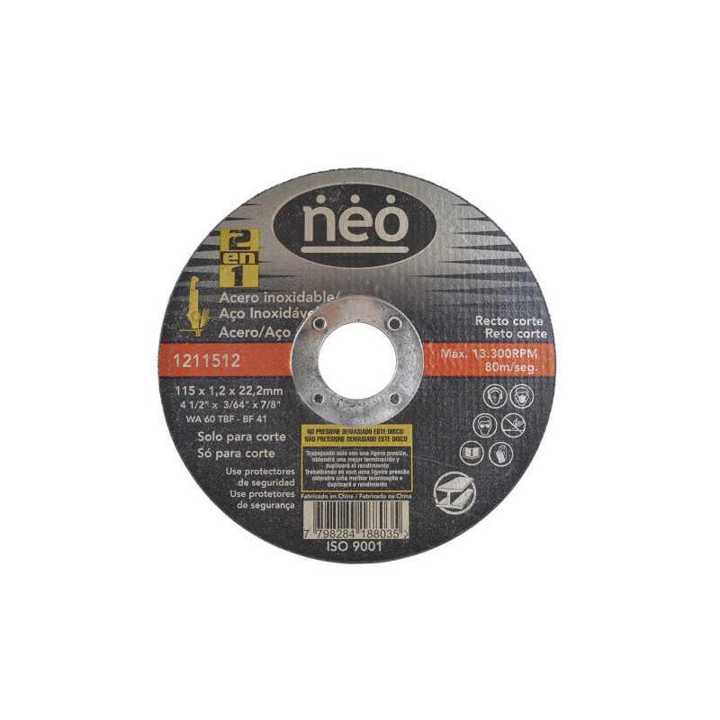 "Disco de Corte 4 1/2"" x 1.2mm Acero Inox 1211512 Neo MI-NEO-051048"
