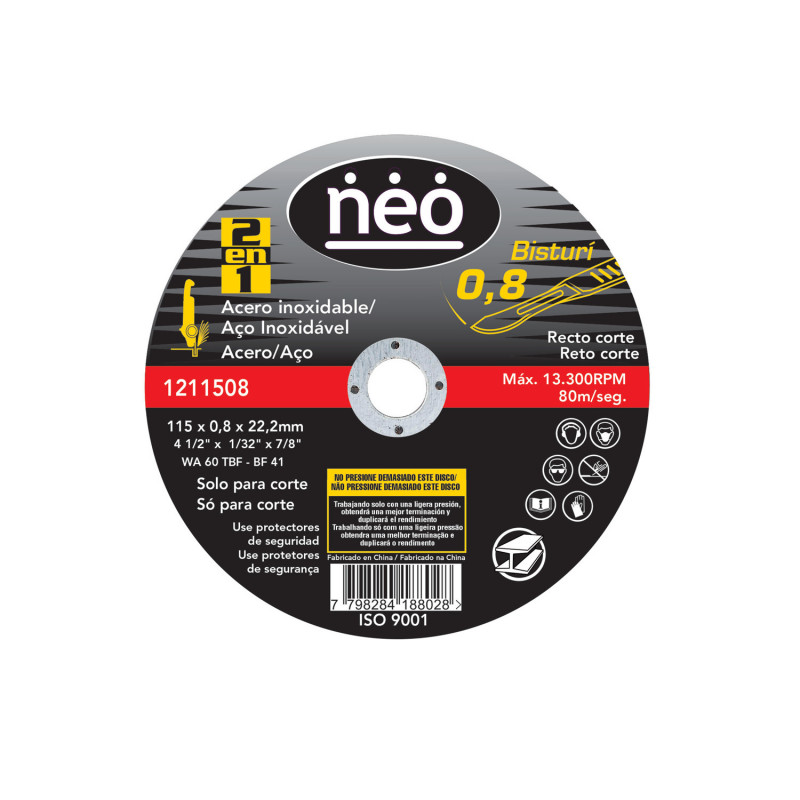 "Disco de Corte 4 1/2""x0.8mm Acero Inoxidable 1211508 Neo MI-NEO-050738"