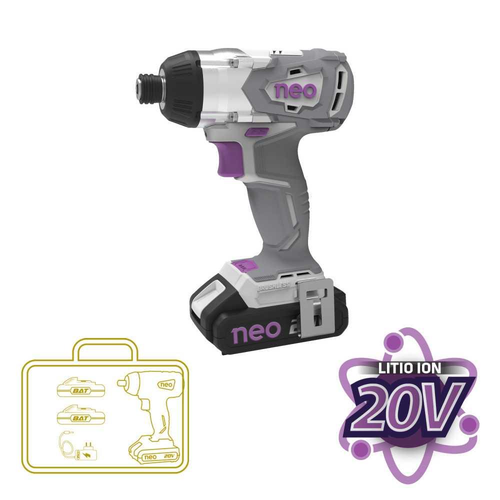 """Atornillador de Impacto Inalámbrico 1/4"""" 20V + 2 Baterías 20V + Cargador Neo MI-NEO-052426"""
