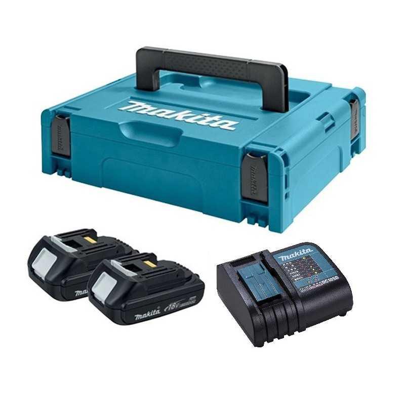 Kit 2 baterias 18V 1.5 Ah + cargador + MAKPAC Makita 197136-5