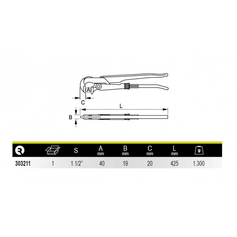 """Llave de Tubo Modelo Sueco Boca Perpendicular 1.1/2"""" Irimo 303211"""