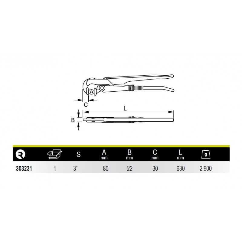 """Llave de Tubo Modelo Sueco Boca Perpendicular 3"""" Irimo 303231"""