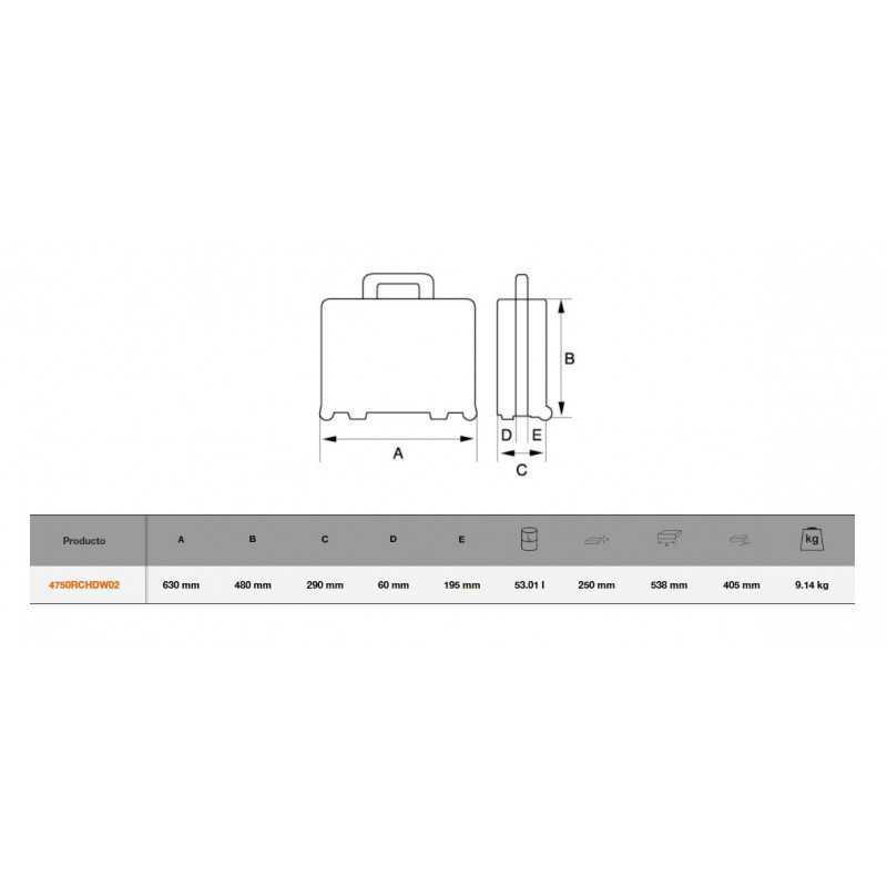 Caja de herramientas Rígida Heavy Duty con Ruedas 53L Bahco 4750RCHDW02