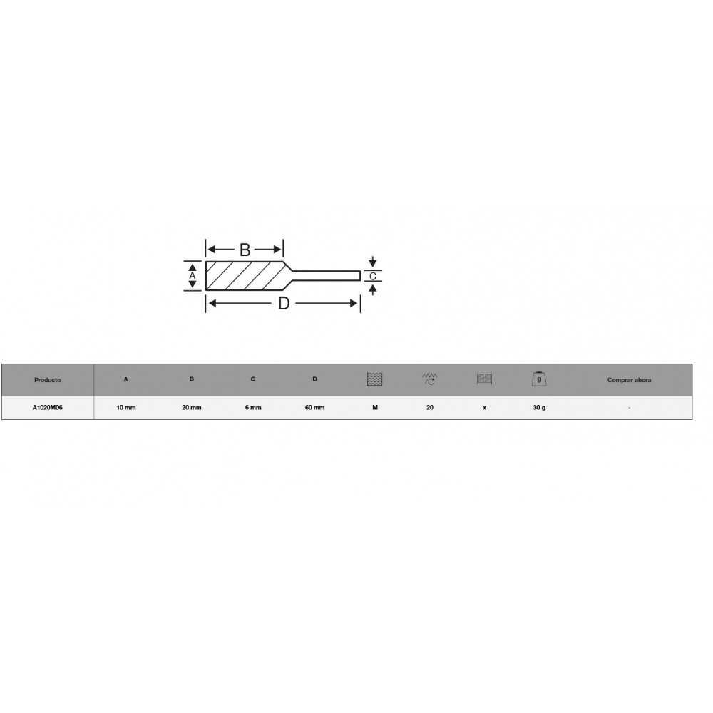 Lima Rotativa Cilíndrica 10x20mm para metal Bahco A1020M06