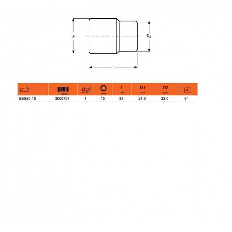 """Dado HEXAGONAL 1/2"""" X 15MM Bahco SBS80-15"""