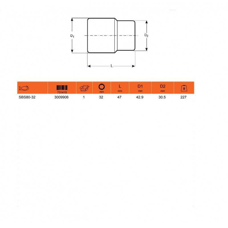 """Dado HEXAGONAL 1/2"""" X 32MM Bahco SBS80-32"""