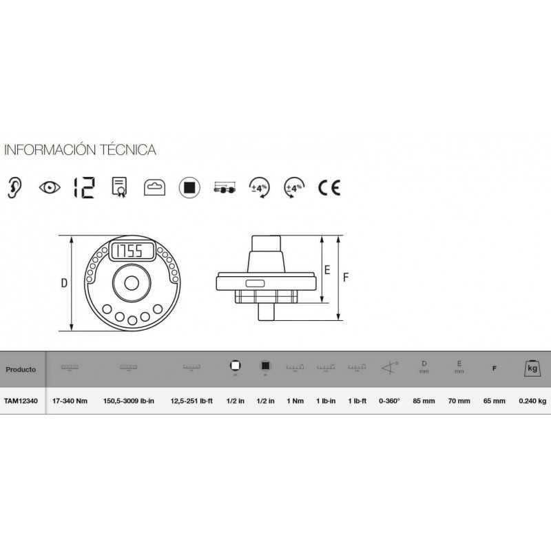 """Adaptador Electrónico DE LLAVE DE TORQUE PARA CHICHARRA 1/2"""" Bahco TAM12340"""