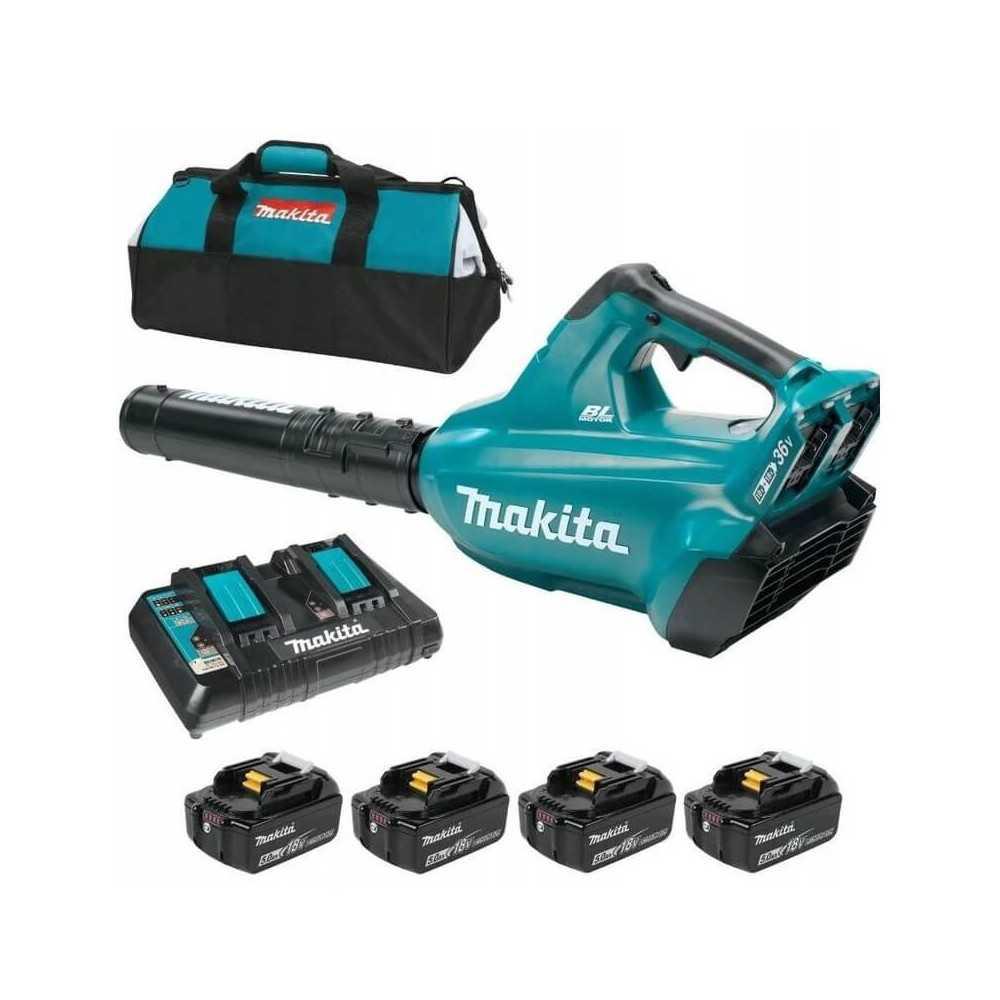"""Soplador Inalámbrico 36V DUB362 + 4 Baterias 18V 5Ah + Cargador Doble DC18RD + Bolsa 14"""" Makita DUB362PT4X"""