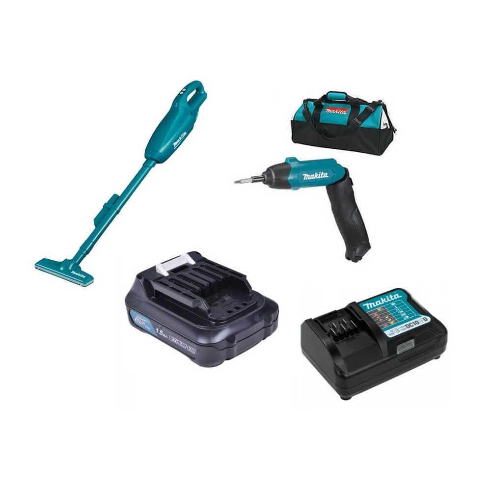 Combo Aspiradora Aspiradora 10.8V + Atornillador Inal. + Batería 12V + Cargador + Bolso Makita DK0089X1