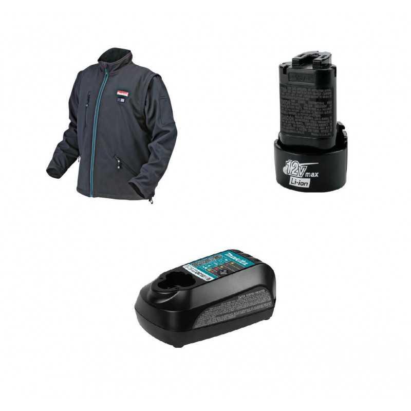 Chaqueta Térmica Talla S CJ100D + Batería 12V MAX 1.3 Ah BL1014 + Cargador DC10WB Makita CJ100DZS-1