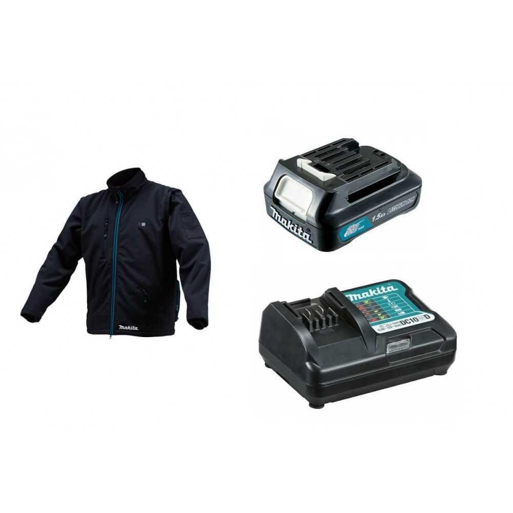 Chaqueta Térmica Talla S CJ102D + Batería 12V MAX 1.5 Ah BL1015 + Cargador DC10WD Makita CJ102DZS-1