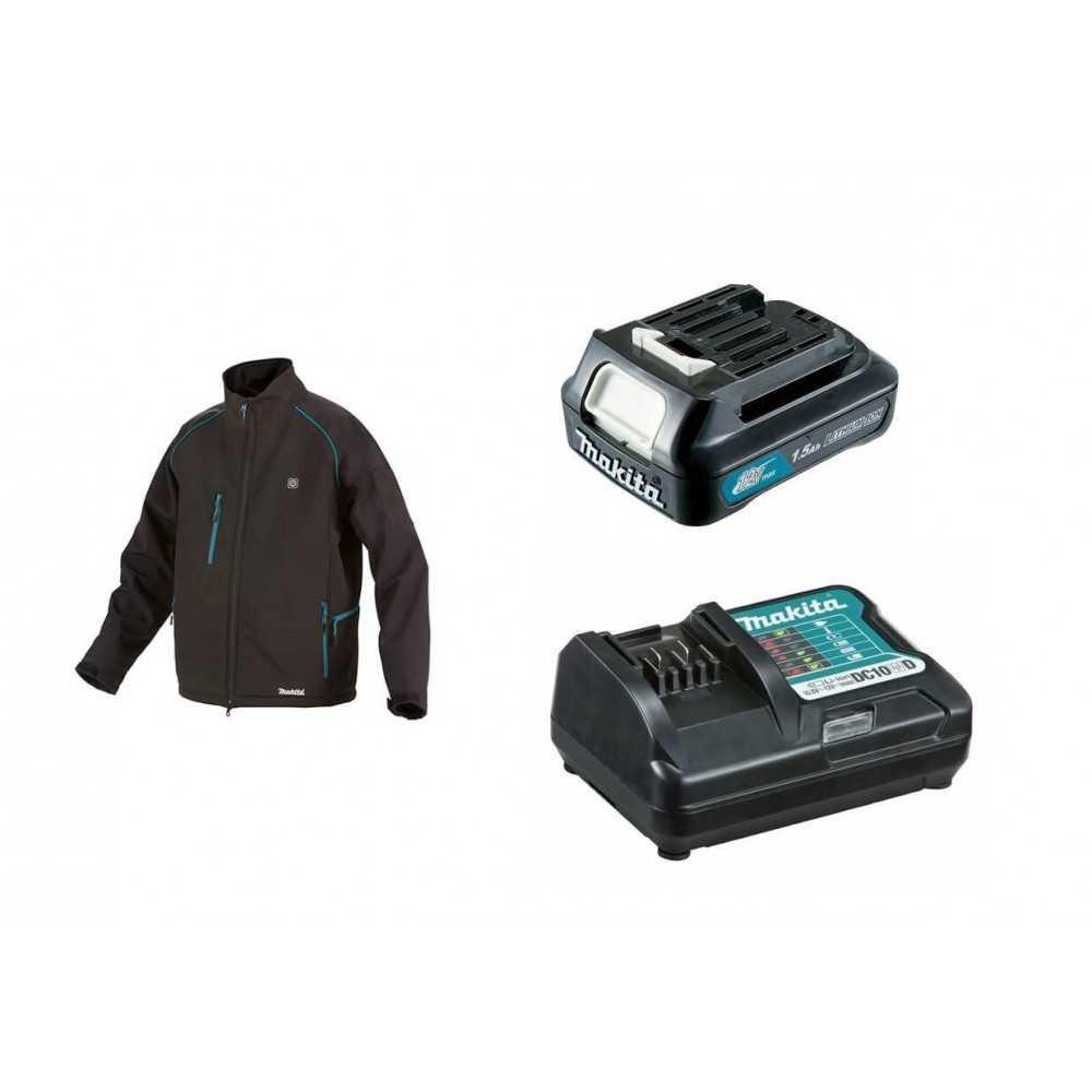 Chaqueta Térmica Talla S CJ105D + Batería 12V MAX 1.5 Ah BL1015 + Cargador DC10WD Makita CJ105DZS-1